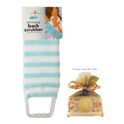 Exfoliating Back Scrubber Nylon Beauty Skin Bath Cloth Towel with Handles Light Blue with HONEY Soap Bar for Women and Men