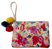 Betsey Johnson Floral Bag Pouch Wristlet Pink Flowers
