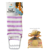 Exfoliating Back Scrubber Nylon Beauty Skin Bath Cloth Towel with Handles Purple with HONEY Soap Bar for Women and Men