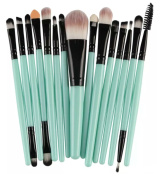 KiraShan - 15pc Makeup Brush Starter Set Eye Shadow Foundation Eyebrow Lip Powder Cosmetic Brushes