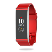 MyKronoz Zefit4-Red Fitness Activity Tracker with Colour Touchscreen & smart notifications - Red, silver