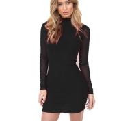 Pengy Women Girl Bodycon Patchwork Long Sleeve Turtleneck Dress
