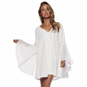 Pengy Women Girl Lace V Neck Solid Flare Long Sleeve Loose Casual Short Mini Dress