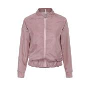 Pengy Womens Crown Printed Satin Long Sleeve Zipper Jacket Coat