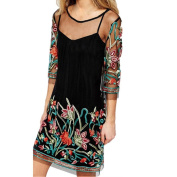 Pengy Womens Boho Vintage Lace Mesh Sheer Embroidered Floral Mini Dress