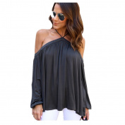 Pengy Women Girl Irregular Long Sleeve Strapless Tops T-shirt