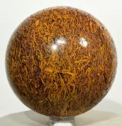 6.6cm 450g Coquina Jasper / Elephant Skin Crystal Sphere Natural Holly Mariyam Jasper Fossil Mineral Polished Ball Arabic Calligraphy Scriptstone - India + Plastic Stand