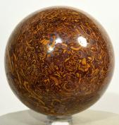 6.6cm 440g Mariyam Jasper Sphere Elephant Skin / Coquina Jasper Holly Fossil Crystal Ball Natural Mineral Polished Arabic Calligraphy Scriptstone - India + Plastic Stand