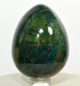 5.6cm 145g Natural Bloodstone Egg Multicolor Blood Jasper Agate Mineral Polished Heliotrope Gemstone Crystal Egg - India + Plastic Stand