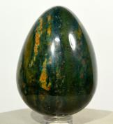 5.8cm 150g Natural Bloodstone Egg Multicolor Blood Jasper Agate Mineral Polished Heliotrope Gemstone Crystal Egg - India + Plastic Stand