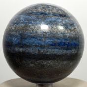 73mm 665g Lapis Lazuli w/ Pyrite Sphere Natural Blue / Grey Crystal Ball Polished Mineral Stone - Afghanistan + Plastic Stand