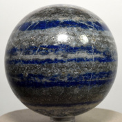 7cm 560g Blue Lapis Lazuli w/ Pyrite Sphere Natural Crystal Ball Polished Mineral Stone - Afghanistan + Plastic Stand