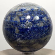 6.4cm 430g Blue Lapis Lazuli w/ Pyrite Sphere Natural Crystal Ball Polished Mineral Stone - Afghanistan + Plastic Stand