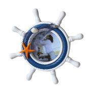 WINOMO Nautical Mediterranean Style Nordic Handcrafted Wooden Rudder Shell Sea Star Photo Frame Steering Wheel