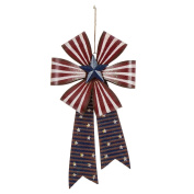 Glitzhome Handcrafted Iron Patriotic Bow Hanging Wall Decor