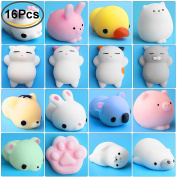 Mini Squishies Kawaii, Outee 16 Pcs Animal Squishies Mochi Squeeze Toys Soft Squishy Release Stress Animal Toys Kawaii Animal Squishy Mini Slow Rising Seal Rabbit Chick Cat Pig Tiger Squishies, Random Colour