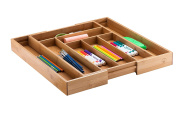Bamboo Office Desk Organiser – 8 Small Compartments with Adjustable Dimensions Best for Pens, Notepads, Small Electronics and more. By Bambüsi