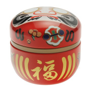 """1 Pc Japanese Red Daruma """"Wishes"""" 100g Tea Canister #499-555"""