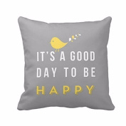 Decorbox A Good Day To Be Happy Quote Pattern 41cm x 41cm Polyestest Cotton Square Throw Pillow Case Decorative Durable Cushion Slipcover Home Decor Standard Size Accent Pillowcase Encasement Cover