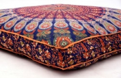 Large Feather Mandala Dog Bed Cover, Square Pet Bedding, Indian Meditation Floor Pillow, Boho Dog Bed, Decorative Ottoman Pouffes 90cm