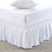 MeiLa Three Fabric Sides Wrap Around Elastic Solid Bed Skirt, Easy On/Easy Off Dust Ruffled Bed-Skirts 41cm Tailored Drop