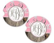 Pink Monogram Deer Head Buck Camo Sandstone Cup Holder Matching Coaster Set