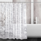 Mooxury Waterproof Shower Curtain Liner, White Flower EVA Shower Curtains with Hooks for Bathroom, Mildew Resistant, Antibacterial, Non Toxic, No Odour, 180cm x 180cm