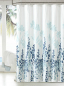 MangGou Fabric Shower Curtain,Japanese Style Flowers Shower Curtain Liner,Waterproof Polyester Bathroom Curtain With 12 Hooks,Mildew resistant,Machine Washable,Teal & Blue,180cm x 180cm
