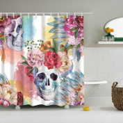 GWELL Sugar Skull Red Rose Shower Curtain Waterproof/Mildew Resistant Polyester Fabric Bathroom Curtain with 12 Hooks