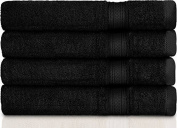 700 GSM Premium Salon Towels 4 Pack(41cm X 70cm ) – Bleach Proof Black Cotton Hand Towels for Hotel & Spa Maximum Softness and Absorbency by Utopia Towels