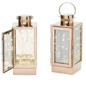 Rose Gold Flamless Lanterns, 30 Fairy LEDs, Copper Wire, Timer Option and Batteries Included - Set of 2