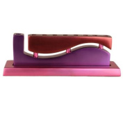 Yair Emanuel Curved Menorah with Wave Cutout Design in Purple & Pink in Aluminium