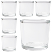 Hosley's Set of 6 Heavy Clear Chunky Glass LED Tea Light, Votive Candle Holders - 6.1cm High. Ideal GIFT for Weddings, Parties, Spa, Aromatherapy, Bridal setting,Reiki, Meditation, Bulk Buy