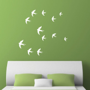 Swallow Silhouette Wall Stick - Birds wall decal - Pack of 12 or 24