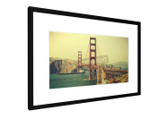 "Old film retro style Golden Gate Bridge in San Francisco, USA. - 23,62"" x 15,75"" inch (60x40 cm) - Picture with frame / Framed poster - Art print - wall art - artists, paintings, photography - City Trip"