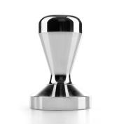Flexzion Coffee Tamper Machine 58mm Diameter Stainless Steel Flat Base Wood Grip Handle Barista Espresso Bean Press Tool in Silver Kitchen Accessories