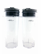 Sduck Replacement Parts for Nutri Ninja, Two Pack 470ml Cups and Sip with Seal Lids Fit for Ultima & Professional Nutri Ninja Series BL770 BL780 BL660 All Pro 4 Tab Blenders