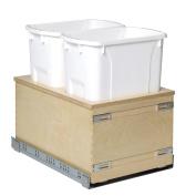 Century Components Edge Series EDGBM14PF Kitchen Pull Out Waste Bin - (2) 32.2l White Plastic Containers - Baltic Birch - Undermount Slide, 36cm - 2.2cm wide