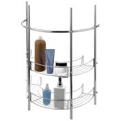 Under-the-Sink Bathroom Pedestal Storage Rack with 2 Shelves & Hand Towel Bar, Chrome Plated