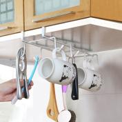 Multifunctional Cupboard Iron Storage Racks Traceless Nail-free Punching-free Hanging Shelf with 8 Hooks for Bathroom Wardrobe Kitchen Cupboard, White