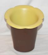 NEW 17cm CHOCOLATE & PALE YELLOW FLOWER DESIGN PIER 1 KITCHEN UTENSIL HOLDER