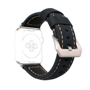 For Apple Watch Band 42MM Leather, Rosa Schleife Apple Watch Leather Bands 42mm Smart Watch Band with Stainless Steel Replacement Clasp Bracelet Buckle Wrist Bands for iWatch Sport & Edition - Black