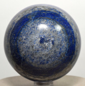 6.1cm 395g Blue Lapis Lazuli w/ Pyrite Sphere Natural Crystal Ball Polished Mineral Stone - Afghanistan + Plastic Stand