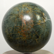 Large 8.4cm 0.9kg Green Apatite Sphere w/ Orange Calcite Natural Crystal Polished Ball Decor Mineral Stone - Peru + Plastic Stand