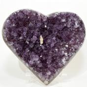 Large 0.9kg 14cm Amethyst Geode Heart Natural Purple Sparkling Druzy Mineral Cluster Quartz Crystal Gemstone Love Heart - Uruguay + Acrylic Display Stand