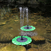 Yunhigh Solar Powered Fountain Pump Floating Water Feature Submersible Water Pump for Bird Bath Ponds Gardens Pool Outdoor Decoration- Lotus Leaf Shaped