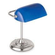 "Banker""s Lamp Chrome Base/Colbalt Blue Shade Dimensions"