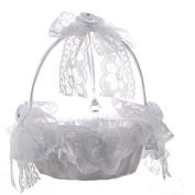 Romantic Wedding Girls Flower Basket,Bamboo Lace Flower Bowbnot Flower Basket,White Satin Bloom Rhinestone Bride Flower Basket Marriage Props Decoation - 22×23(H)cm