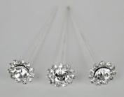 Max 24 Bouquet Pins Corsage Wedding FLORAL ROUND Design Crystal Rhinestone Diamond 7.6cm