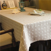 Thicker Linen Chequered Tablecloth For Family Dining Table Home Decor , brown , 130*190cm